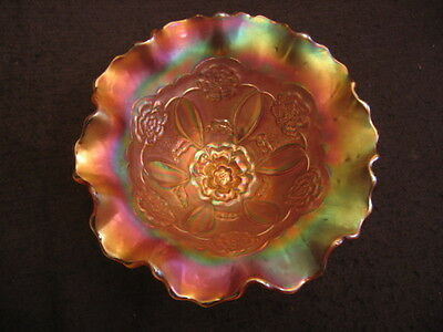 "DECO DUGAN CARNIVAL GLASS RUFFLED 8"" FOOTED BOWL Double Stem Rose pattern c.30's"