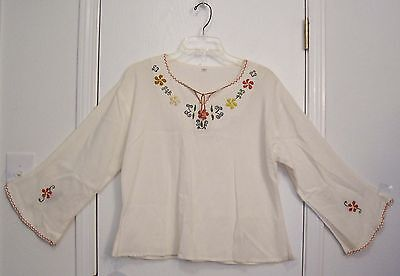 Vintage EMBROIDERED Ivory MEXICAN Hippie Boho FESTIVAL Top BLOUSE shirt/M-L