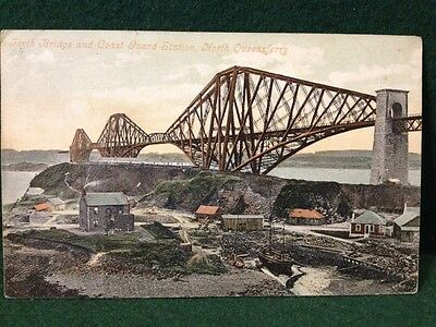 Antique Postcard Forth Bridge & Coast Guard Station North Queensferry Fife 1908