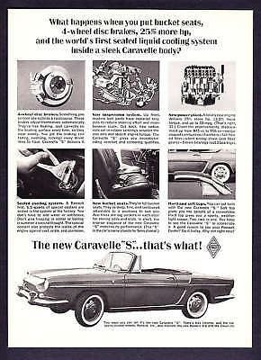 """1963 Renault Caravelle Convertible """"S"""" photo print ad"""