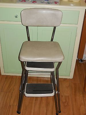 Vintage Cosco Kitchen Pull-Out Step Stool Chair Orig Upholstery Vinyl & Chrome