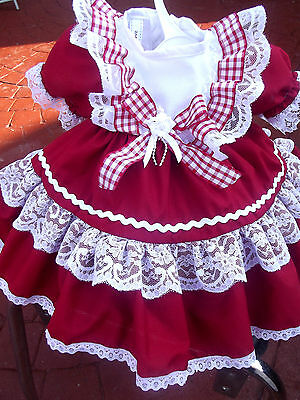Dream Baby Spanish Romany Netted Red Xmas Dress 0 To  4 Years Or Reborn Dolls