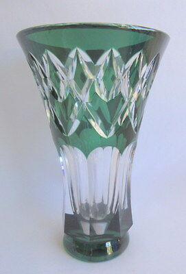 "Signed VAL ST LAMBERT Vase Green Cut to Clear Crystal 8"" Tall"
