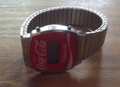 Vintage Digital Coca-Cola Watch Coke is it! Wristwatch Expandable Band Stainless