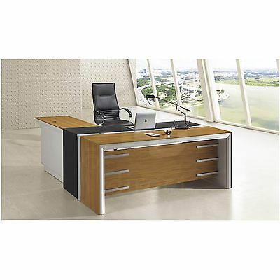 NEW MODERN EXECUTIVE OFFICE FURNITURE COMPUTER TABLE DESK w/ DRAWERS RETURN M223