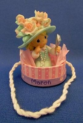 "Precious Moments ""March"" Little Girl Playing In A Hat Box Figurine - Enesco 2004"