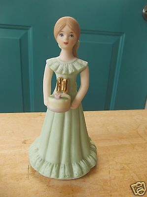1982 Enesco Growing Up Birthday Girls Porcelain 11 Year Cake Topper Brown Hair