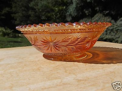 Vintage Marigold Carnival Glass Bowl with Floral and Leaf Design
