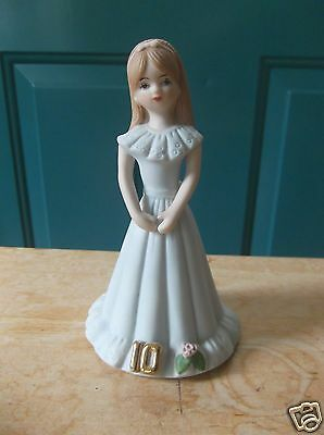 1982 Enesco Growing Up Birthday Girls Porcelain 10 Year Cake Topper Brown Hair
