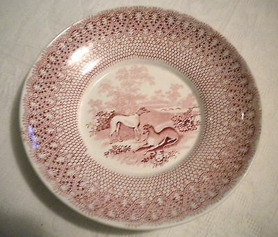 Antique Staffordshire Red Transfer Greyhound Dogs Pearl Ware Soft Paste Dis