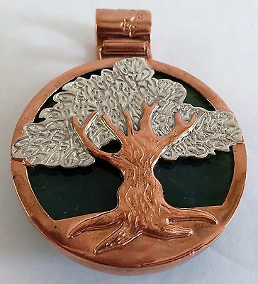 Vintage Sterling Silver & Copper w/ Green Stone Tree Of Life Medallion Pendant