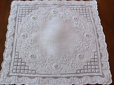 Beautiful Antique Embroidery Pulled Thread / Drawnwork Encrusted Hanky #2