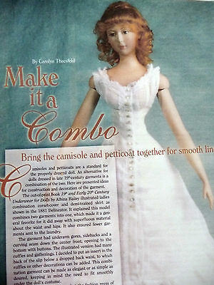 Camisole & Petticoat Combination Pattern For French Fashion Lady Doll