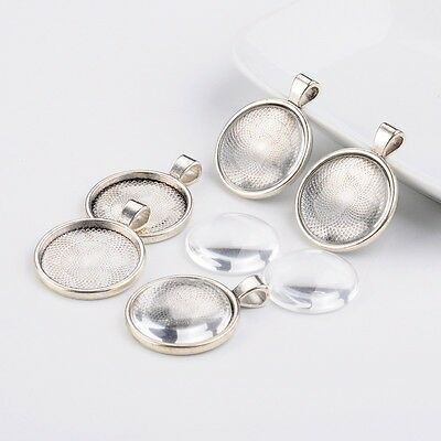 6Sets 25mm Transparent Domed Glass Cabochon Cover for Alloy Photo Pendant Making