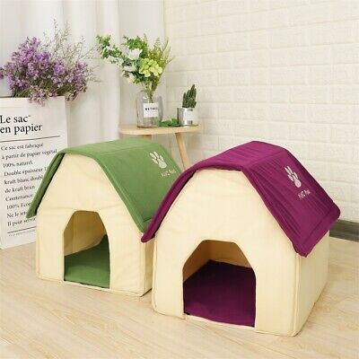 Dog House Small Pet Bed Cozy Puppy Kennel Cave Stable Cat Pad Portable Indoor