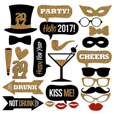 2017 New Year's Party Photo Booth Props Mustache On A Stick Photography Kit 26PC