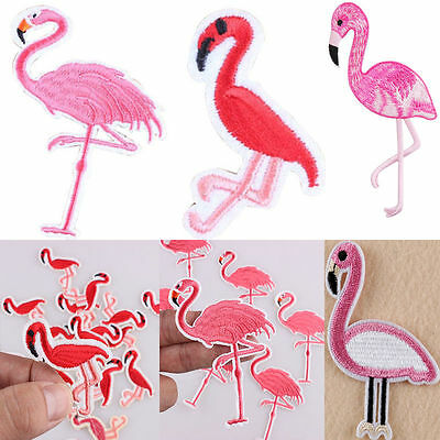 Embroidered Flamingo Skateboard Biker Sew On Iron On Patch Badge Fabric Applique