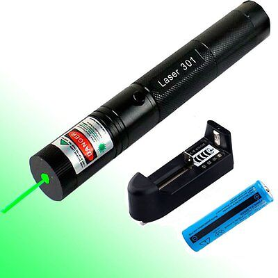 Military 1mw 532nm Zoomable Focus High Power Green Laser Pointer Pen 301+Battery