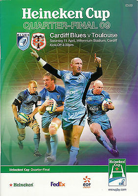 Cardiff v Toulouse 11 Apr 2009 Heineken European Cup quarter final RUGBY PROG