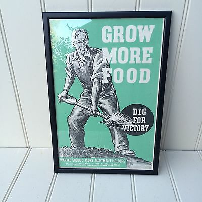 Original World War 2 Dig for Victory Poster - Grow More Food