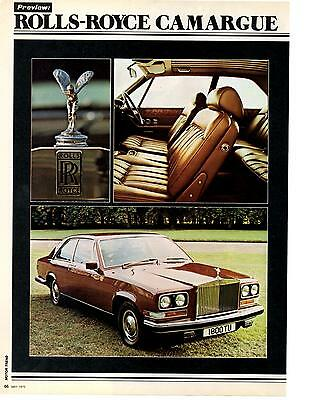 1975 Rolls-Royce Camargue  ~  Great 3-Page Article / Ad