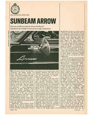 1967 Sunbeam Arrow  ~  Nice Original 3-Page Road Test / Article / Ad