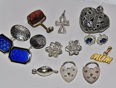 Mixed Lot of Sterling Silver Jewellery & Finding 10 items in total some Vintage
