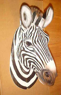 "9"" ZEBRA Head Wall Hanging Mount Wildlife Safari African Exotic Animal Decor"