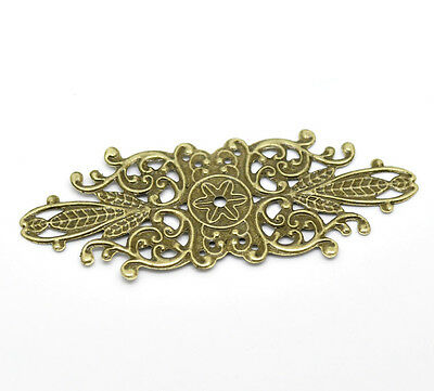 30 Bronze Filigree Flower Wraps Connector Embellishments Findings Jewelry Making