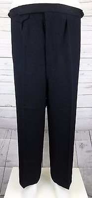 Vtg Black Button Fly 1940s Style Braided Wool Trousers Brace Tabs W40 L27 DI40