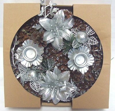Premier 20cm Decorative Dressed Table Candle Ring Holder Christmas Wreath SILVER