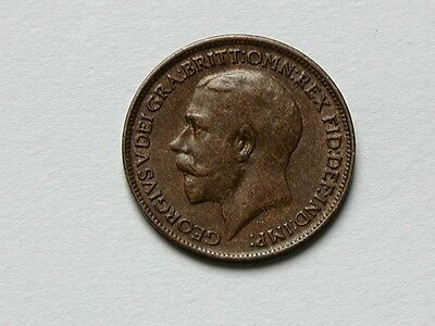 UK (Great Britain) 1920 FARTHING King George V British Coin EF