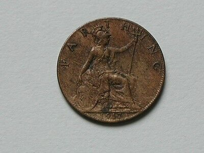 UK (Great Britain) 1917 FARTHING King George V British Coin