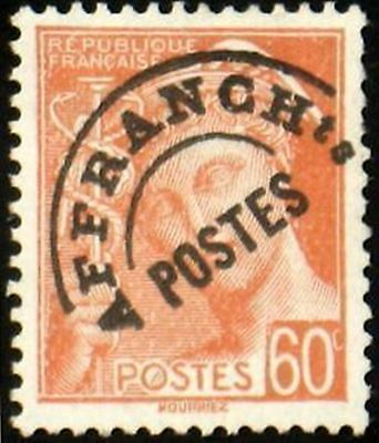 """FRANCE PREOBLITERE TIMBRE STAMP N° 83 """" MERCURE 60c ROUGE ORANGE"""" NEUF (x) TB"""