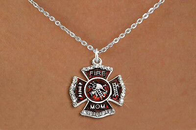 Firefighter's Mom Silvertone Red Enameled Maltese Cross Crystal Charm Necklace