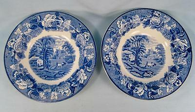 2 English Scenery Blue Rimmed Rim Cereal Bowls Wood & Sons Transferware (O2)