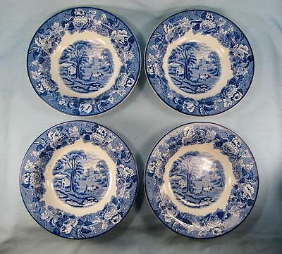 4 English Scenery Blue Rimmed Rim Cereal Bowls Wood Sons Transferware (O2) AS I