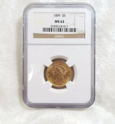 1899 GOLD Liberty Head Half Eagle $5 Coin CERTIFIED NGC MS 63