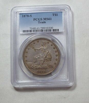 1878-S Trade Dollar CERTIFIED PCGS MS 61 SILVER Dollar