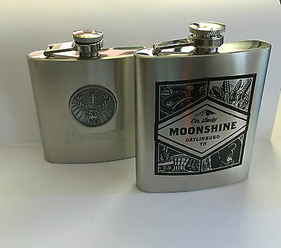 New Jagermeister 6oz & Ole, Smoky Moonshine 7oz Collectable Stainless Flasks Set