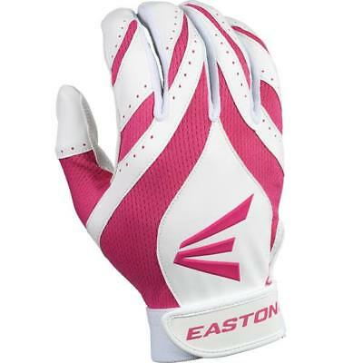 1 pr Easton Synergy II Womens X-Large Softball Batting Gloves White / Pink New!