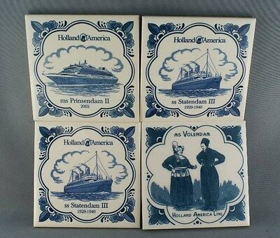 Lot of 4 Delft Ship Coaster Tiles FOUR