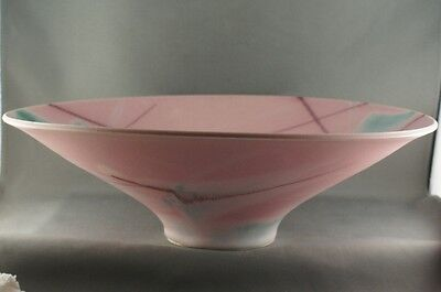 Vintage Pink Pottery Footed Bowl