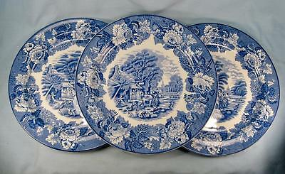 3 English Scenery Blue Dinner Plates By Wood & Sons England Transferware (O2)
