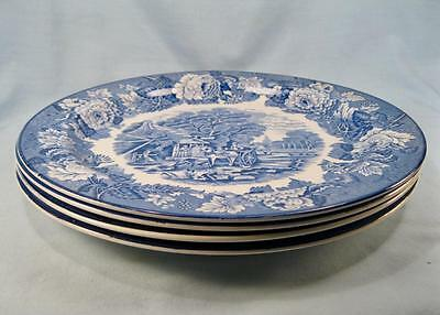 4 English Scenery Blue Dinner Plates By E Wood & Sons Transferware (O2) AS IS