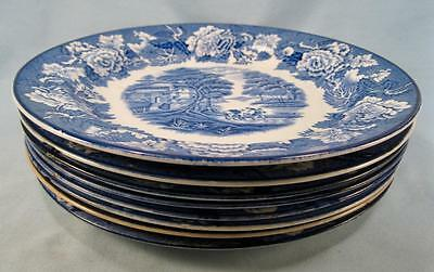 8 English Scenery Blue Salad Plates By Wood & Sons Blue Transferware (O2) AS IS