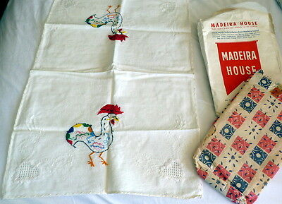 NIP Colorful ROOSTER Vtg Madeira Linen Guest Towel Runner Hand Embroidered