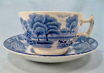 English Scenery Blue Flat Cup & Saucer Set By Wood & Sons Blue Transferware (O2)