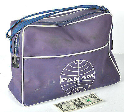 Vtg PAA Pan Am Airlines Stewardess Flight Bag Purse Luggage Carry-On