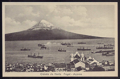 City of HORTA in FAYAL Isle, lots of ships AZORES. Old Postcard FAIAL Açores
